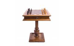 Шахматный стол Эксклюзив, темный дуб, с фигурами