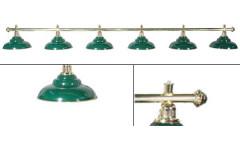 Лампа на шесть плафонов «Ravena»  (золотистая штанга, зеленый плафон D38см)